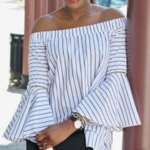 Tops - Striped Off the Shoulder Bell Sleeve Blouse